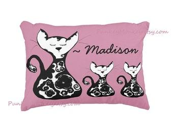 Personalized kitty cats pillow 12x16 toddler pillow toss pillow pink black floral cat pillow kids decor custom pillow personalized pillow