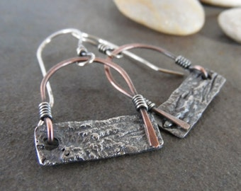 Sale-Rustic Boho Dangle OOAK Sterling Silver-Copper Swing-Reticulated Silver Artisan Earrings.