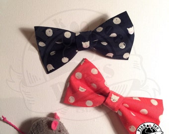 Polka Dot Cat // Hair Bow // clip on Bow Tie // Cat Fabric