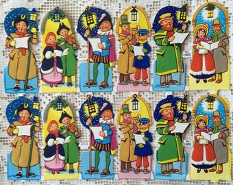 Vintage Scraps England 1940s Paper Die Cut 12 Christmas Carolers Out Of Print