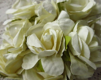 Paper Millinery Flowers 12  Palest Yellow Moon Roses