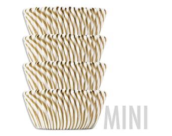Mini Gold Candy Stripe Baking Cups - 50 gold striped mini paper cupcake liners