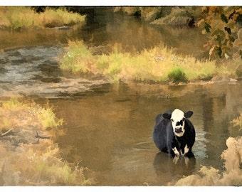 Cool Cow (9x17 - Stream - Cow - Livestock - Rural Georgia - Wall Decor - Country - Green - Fine Art Watercolor Print)