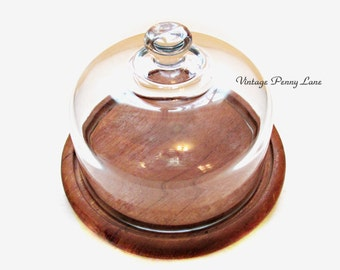 Vintage Cheese Tray, Glass Dome, Teak Wood Block