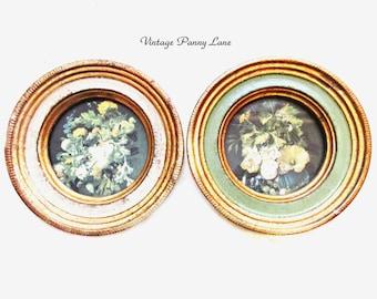 2 Vintage Miniature Florentine Wall Art, Handmade / Gold Gilt