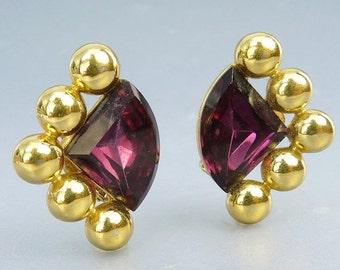Vintage Amethyst Rhinestone Clip Earrings