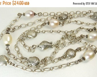 Vintage Silver Sea Shell & Pearl Necklace Flapper Length