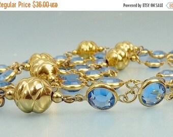 Vintage Blue Bezel Set Crystal Necklace