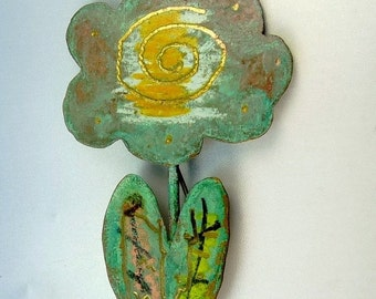 Vintage Mod Hand Painted Flower Brooch Signed