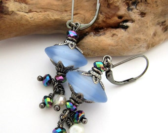 Tumbled Blue Danglers - Lampwork Earrings