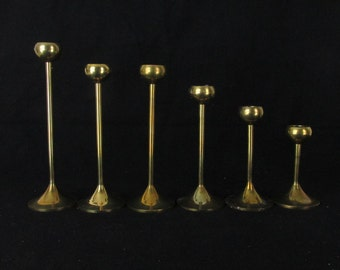 Vintage Instant Collection of 6 Brass Candle Holders