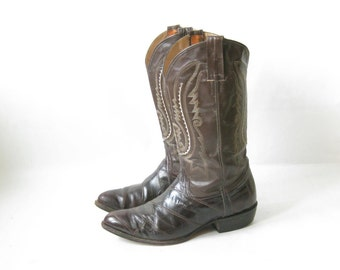 Vintage 70's Brown EEL SKIN Leather Cowboy Boots. Size 9 Mens// 11 Women's