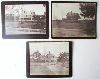 Group of 3 Antique Victorian 1890's House Photographs, Large Houses, Antique Photo,  Outdoor Photo, Architectural Photos, Original Photos