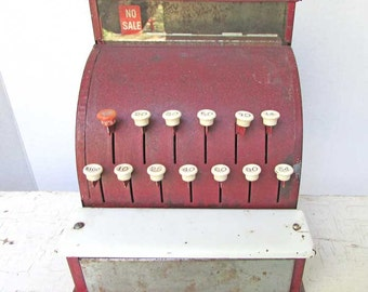Vintage 1933 Child Size, Toy Metal Cash Register in Old Red and White, Patented, Working, Educational Cash Register, Store or Home Decor