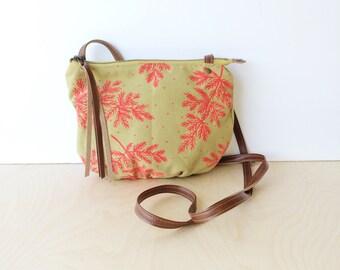 date purse  • crossbody bag - floral print • hot pink - botanical print - dijon canvas - gifts under 50 - screenprinted • native