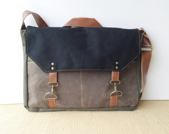 boss bag • waxed canvas crossbody messenger bag - laptop bag - mens bag • black canvas - brown waxed canvas - olive canvas • scout