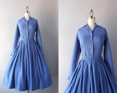 1950s Dress Set / Vintage 50s Flannel Blouse and Skirt Set / Fifties Fitted Blouse and Full Pleated Skirt