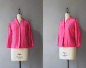 1960s Blouse / Vintage 60s Pink Silk Blouse / Fifties Fitted Silk Dalton Blouse