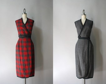 1960s Red Plaid Dress Set / Vintage 60s Reversible Top and Skirt Set / Sixties Wool Vest and Pencil Skirt