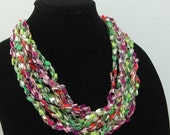 Crochet Trellis Necklace, Adjustable Length Necklace, Ladder Yarn Necklace, Neon Colors Silver, Pink, Purple, Green, Lime Green, Lavender