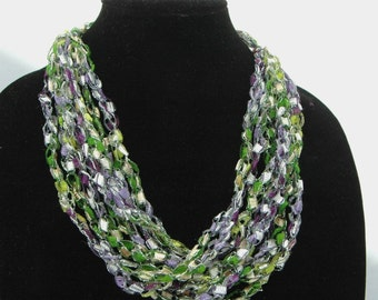 Crochet Trellis Necklace, Purple Silver Green Necklace Adjustable Length Necklace, Ladder Yarn Necklace, Women's Spring or Summer Necklace