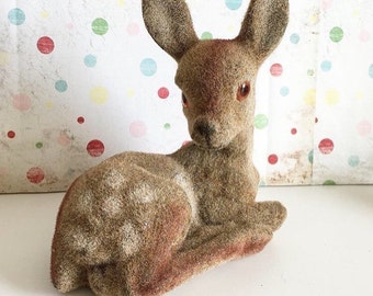 Vintage fuzzy deer fawn bank
