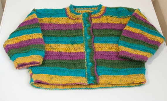Handknitted Boys/Girls Cardigan in Striped Design to fit 5 Year Old.