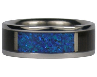 Black Peacock Synthetic Opal Titanium Ring