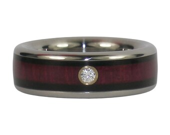 Unique Diamond Wedding Band with Purpleheart and Blackwood