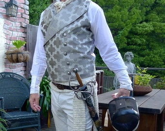 Silver Pewter Tapestry  Steampunk Victorian Double Breasted Lapeled Gentlemen's Vest