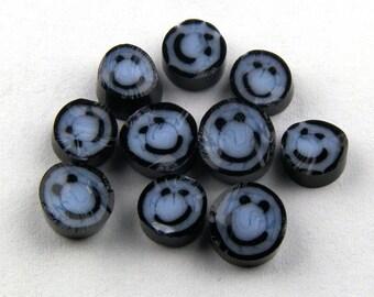 Handmade Lampwork Murrine Blue Smiley Face 104 COE Murrini slices 10 - R