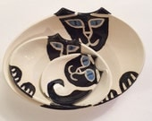 decorative nesting bowls: Cat Pottery set of 3 Hand Made collection black Siamese kitty lover theme ceramic art ceramic