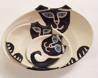 decorative nesting bowls: Cat Pottery set of 2 Hand Made collection black Siamese kitty lover theme ceramic art ceramic