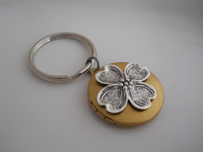 Dogwood Keychain Locket Flower Charm Locket Gardeners Gift
