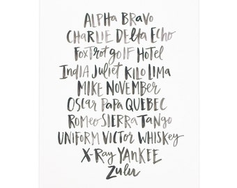 Alpha Bravo Charlie Art Print - 16x20 // 1canoe2 // Hand lettered