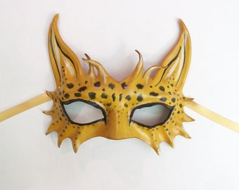 READY TO SHIP Little Leopard Cat Leather Mask  a smaller and very light version of my bigger Leopard & Spotted Cat masks