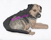 Border Terrier Portrait, Custom digital dog drawing, Personalized border terrier Dog Art, Sketch of your dog, Promarker digital dog drawing