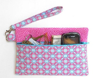 Pink Blue Small Zipper Pouch, Clutch Wristlet, Front Zippered Small Purse, Wallet With Strap, Makeup or Camera Bag, Cell Phone Clutch