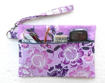 Purple Lavender Clutch, Grey Floral Wristlet, Ladies Small Purse, Front Zippered Wallet, Camera or Gadget Bag, Makeup Holder, Phone Case