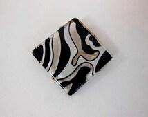 1980s brooch / Vintage 80's Vintage Lucite Zebra Large Brooch Pin