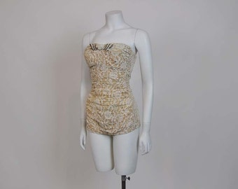 vintage swimsuit / Vintage 50's Rhinestone Lace Alix Swim Suit