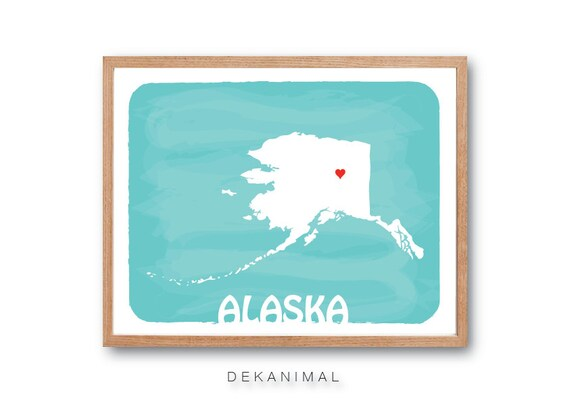 Personalized Wedding Gift - ALASKA State Map - Aqua - Custom Color Watercolor Style Love Birthday Anniversary GIft Children Kids poster