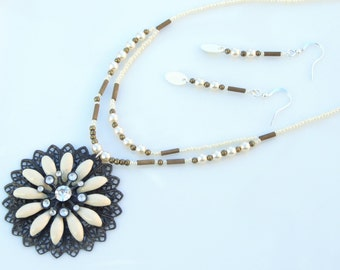 SET - Cream & Beige Jewellery - Floral Filigree Pendant Necklace and Earrings
