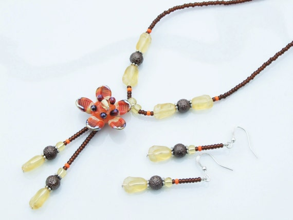 SET - 'Star Flower' Brown, Orange and Cream Twin Pendant Necklace and Earrings