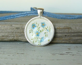 Blue Flower Pendant, Light Blue Necklace, Floral Jewelry, Rustic Country Style Jewelry, Vintage Inspired Picture, Gift for Her