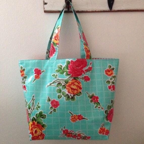Beth's Big Aqua Vintage Rose Oilcloth Market Tote Bag