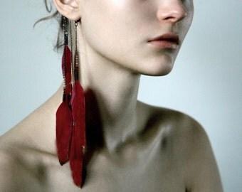 FEATHER EAR CUFF-Red feather Ear cuffs,Red & Gold Ear Jackets,Feather earrings,Bohemian earring,minimalistic,modern earrings,Long ear cuffs