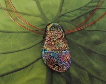 Dichroic Fused Glass Pendant, Multi Colored, Fused Glass