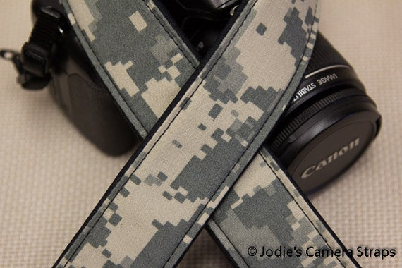 Digi Cam Camera Strap 2 in or 1.5 in Wide Custom Padded Military Army Digi Cam Camouflage DSLR SLR