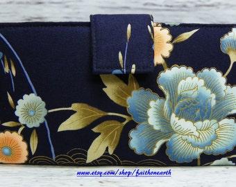 Handmade Long Wallet  BiFold Clutch - Vegan Wallet - Asian floral on navy blue or half size unisex wallet